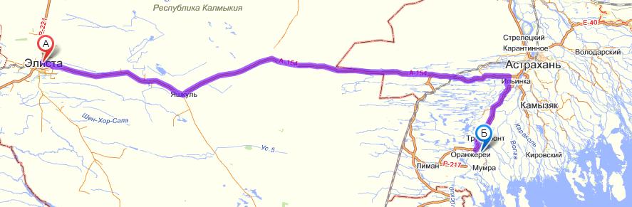 Схема проезда Элиста - Астраханская жемчужина