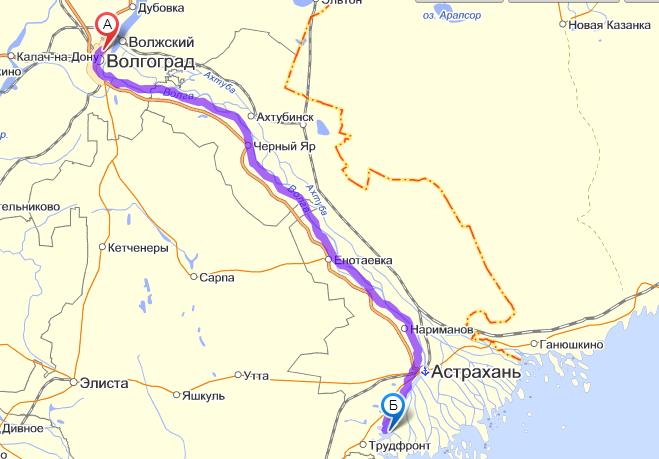 Схема проезда на Астраханскую жемчужину с Волгограда